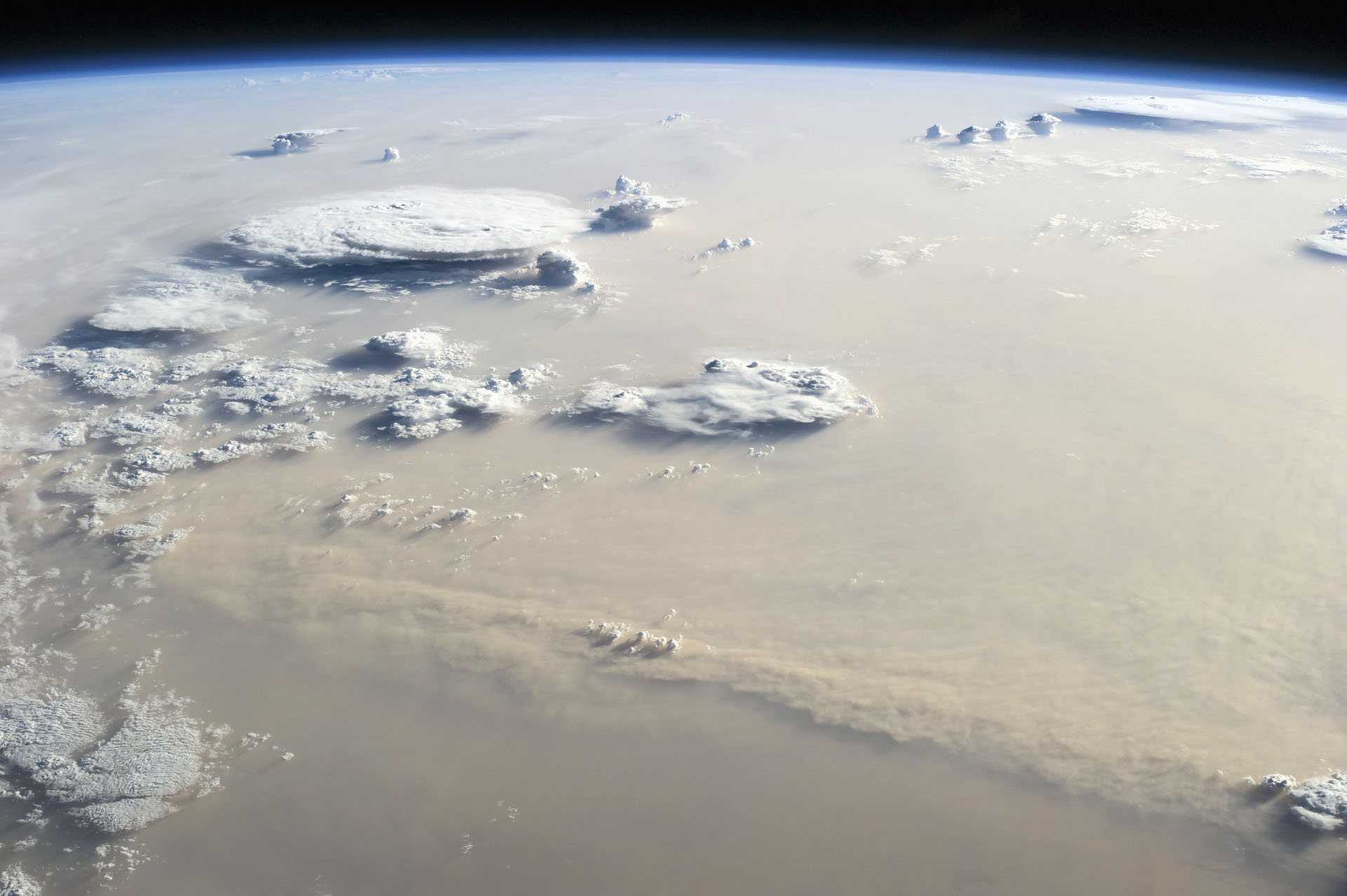 Dust Storm and Couds over the Sahara Desert