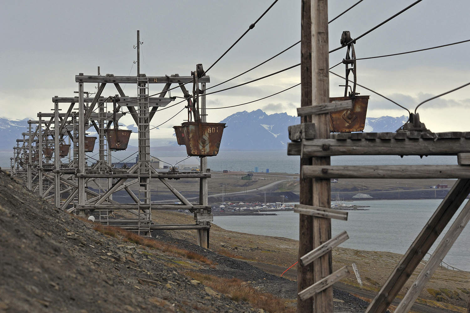 Historical wooden mining cableway for transporting coal, 21 August 2012