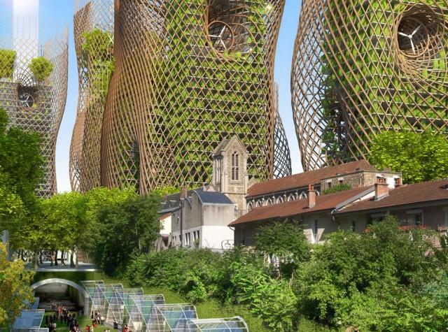 Париж будущего с вертикальным озеленением