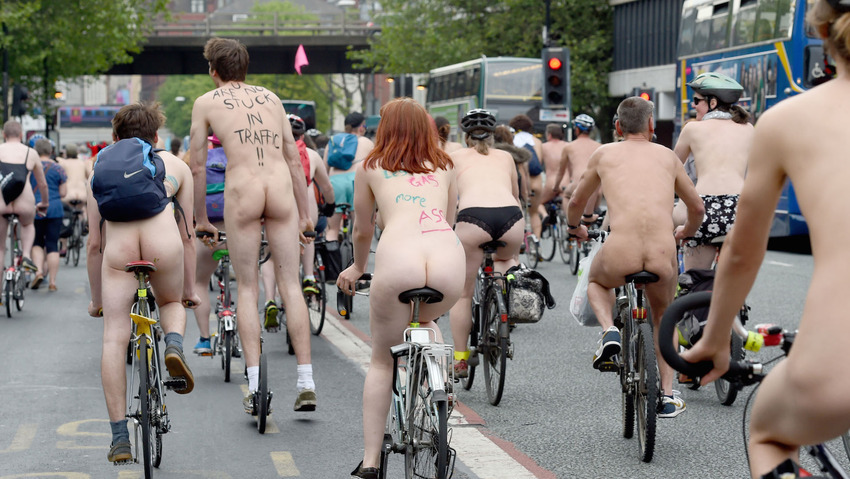 Naked cyclists take to the streets of Manchester