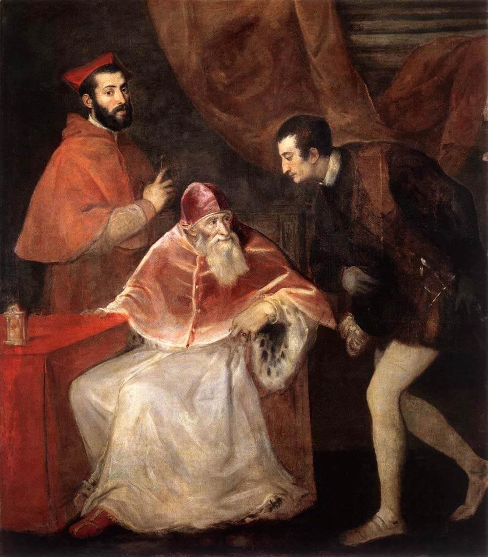 Картина Папа Павел III и его внуки - Тициан